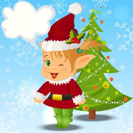 santa s elf: High quality original trendy vector illustration of happy smiling christmas santa s Elf with christmas tree