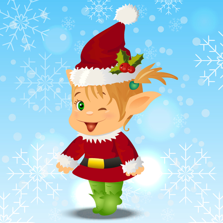 High quality original trendy vector illustration of happy smiling christmas santa s Elf