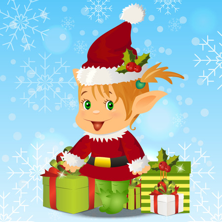 pointy ears: High quality original trendy vector illustration of happy smiling christmas santa s Elf with gift boxes on winter blured background