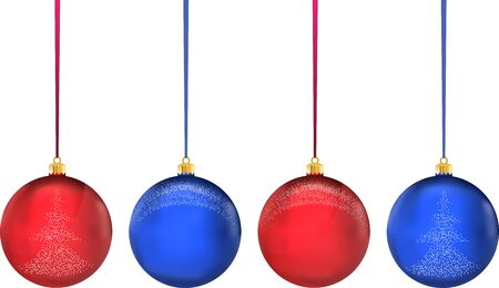 Very high quality original trendy realistic vector multicolor christmas balls with snowflakes and christmas tree Vettoriali