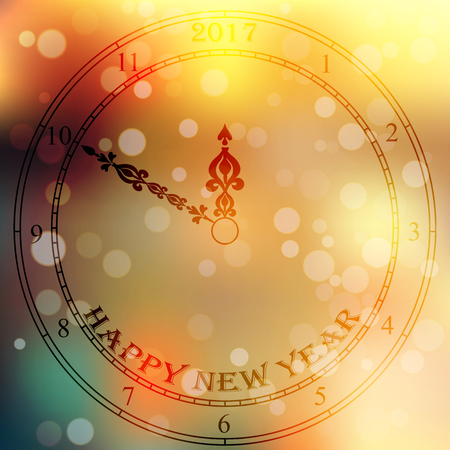Very high quality original trendy vector antique clock face with numbers and vintage pointer isolated on blured boke background, happy new 2017 year