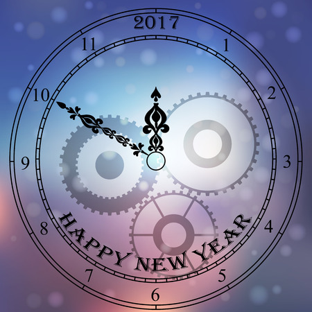 clockface: Very high quality original trendy vector antique clock face with numbers and vintage pointer isolated on blured boke background, happy new 2017 year