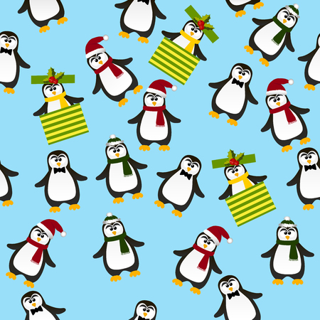 Very high quality original trendy vector seamless pattern with winter holidays happy cute Christmas penguin in carf