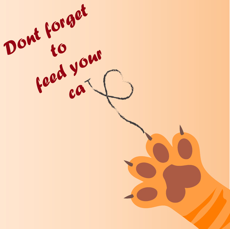 original trendy vector illustration of a cat paw print with claws, love heart, dont forget to feed your cat