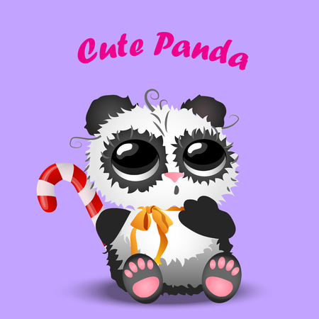 Very high quality original trendy vector cute christmas panda with cane