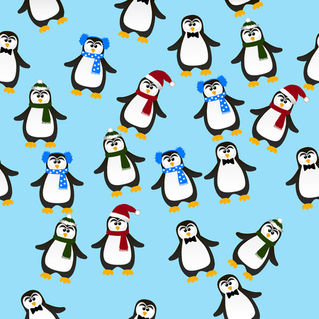 pinguin: Very high quality original trendy vector seamless pattern with winter holidays happy cute Christmas penguin ins carf