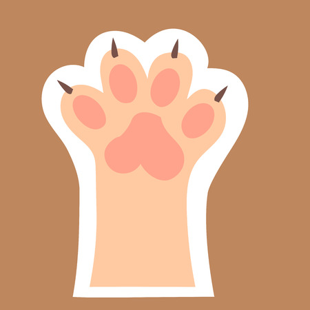 original trendy vector illustration of a cat paw print with claws Illustration