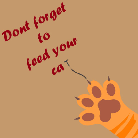 original trendy vector illustration of a cat paw print with claws, dont forget to feed your cat