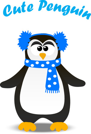 Very high quality original trendy vector winter holidays happy cute Christmas penguin in scarf