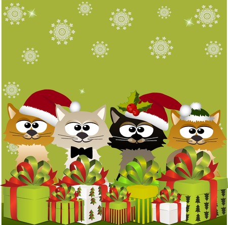 High quality original trendy vector illustration of happy smiling christmas cat with gift boxes on winter blured background