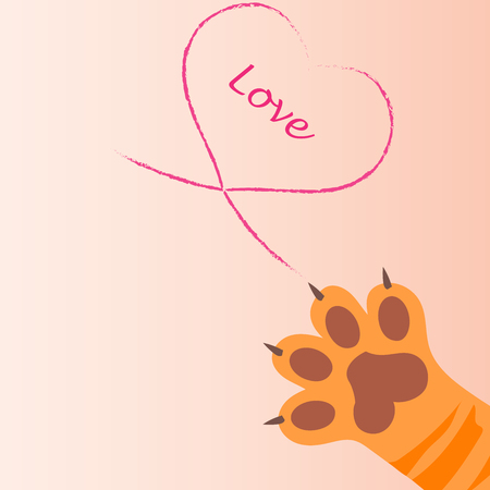 original trendy vector illustration of a cat paw print with claws, love heart