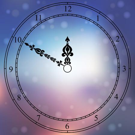 cronometro: Muy alta calidad original con la cara de moda vector de reloj antiguo con números y puntero de la vendimia aislado en el fondo boke borroneada