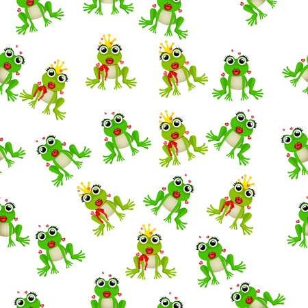 sapo principe: Very high quality original trendy vector seamless pattern with frog prince or princess Vectores