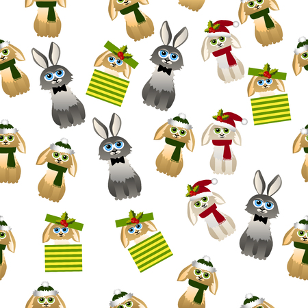 Very high quality original trendy vector seamless pattern with cute rabbit with scarf