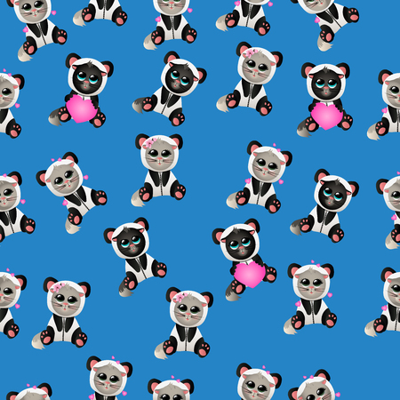 Very high quality original trendy vector seamless pattern with cute cat in panda costume or suit Illustration