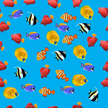 zanclus cornutus: Very high quality original trendy vector seamless pattern with Moorish Idol fish. Zanclus cornutus