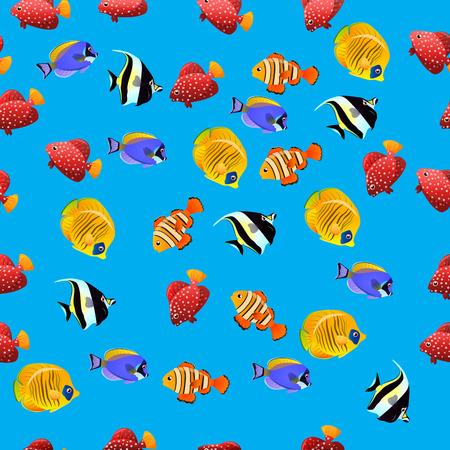 Very high quality original trendy vector seamless pattern with Moorish Idol fish. Zanclus cornutus
