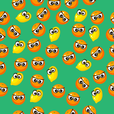 Very high quality original trendy vector seamless pattern with a lemon character, personage or face Illustration