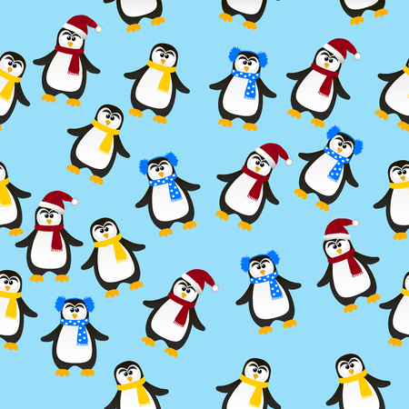 ins: Very high quality original trendy vector seamless pattern with winter holidays happy cute Christmas penguin ins carf