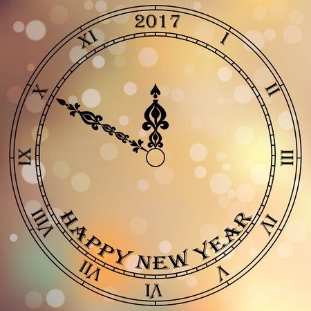 checking: Very high quality original trendy vector antique clock face with roman numbers and vintage pointer isolated on blured boke background, happy new 2017 year