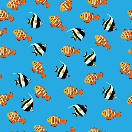 groupe: Very high quality original trendy vector seamless pattern with Moorish Idol fish. Zanclus cornutus