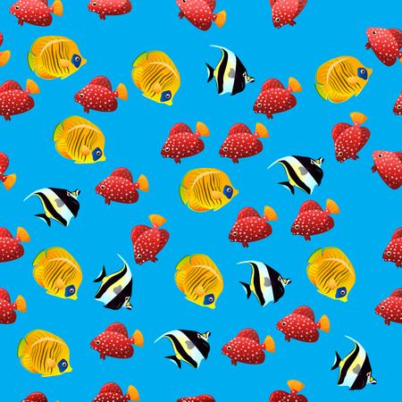 groupe: Very high quality original trendy vector seamless pattern with Moorish Idol fish. Zanclus cornutus