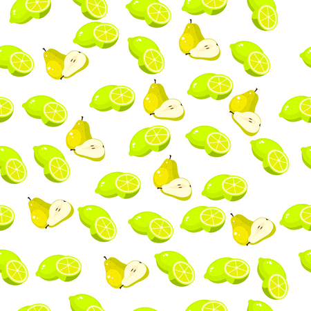 Very high quality original trendy seamless pattern with fresh pear and slice Illustration