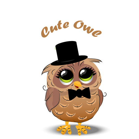 Very high quality original trendy vector illustration of an Cute owl in a hat