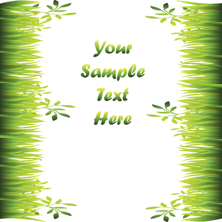 Very high quality original trendy illustration of grass with flowers frame for text or card