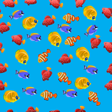 acanthurus leucosternon: Very high quality original trendy vector seamless pattern with Golden Butterflyfish. Acanthurus leucosternon