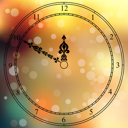 clockface: Very high quality original trendy vector antique clock face with numbers and vintage pointer isolated on blured boke background Illustration