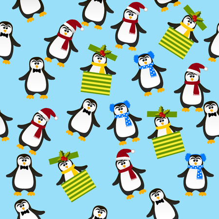 Very high quality original trendy vector seamless pattern with winter holidays happy cute Christmas penguin ins carf