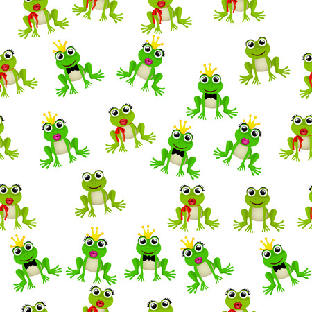 princess frog: Very high quality original trendy vector seamless pattern with frog prince or princess Illustration