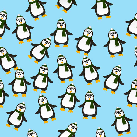 ar: Very high quality original trendy vector seamless pattern with winter holidays happy cute Christmas penguin ins carf