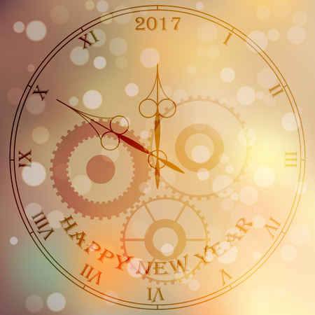 clockface: Very high quality original trendy vector antique clock face with roman numbers and vintage pointer isolated on blured boke background, happy new 2017 year