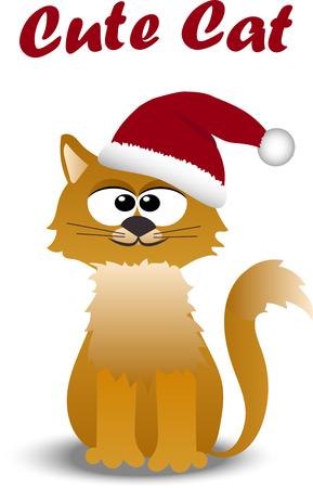 Very high quality original trendy vector cute cat in santa hat