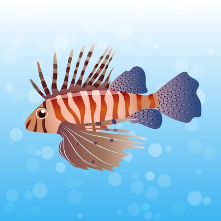 Very high quality original trendy vector illustration of Volitan Lionfish. Pterois volitans.