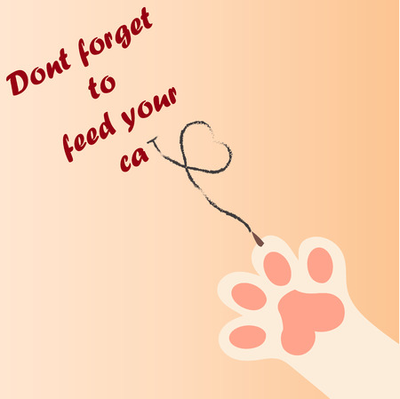 original trendy vector illustration of a cat paw print with claws love heart dont