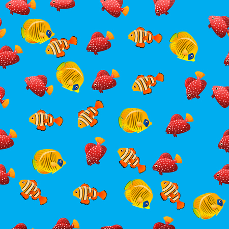 acanthurus: Very high quality original trendy vector seamless pattern with Golden Butterflyfish. Acanthurus leucosternon