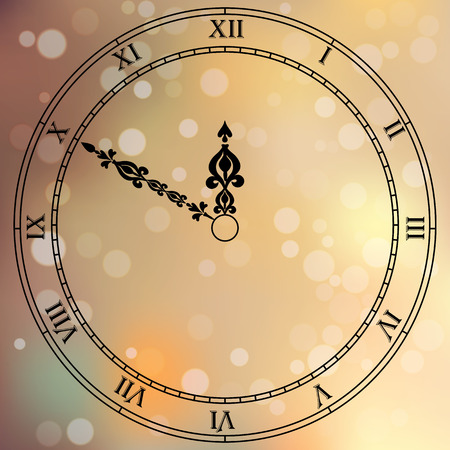 clockface: Very high quality original trendy vector antique clock face with roman numbers and vintage pointer isolated on blured boke background