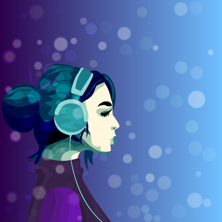 very high quality original trendy illustration of a girl listening music in headphines on blured bokeh background