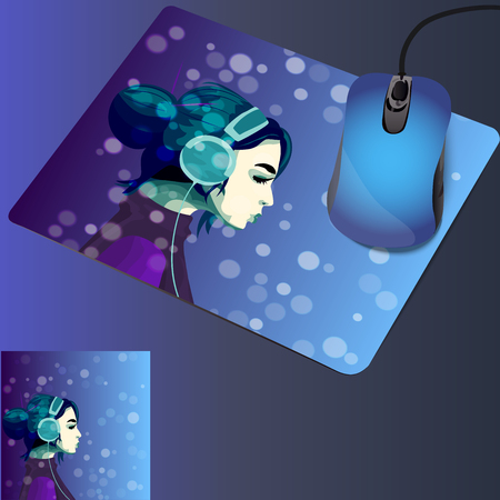 mouse pad: very high quality original trendy illustration on mouse pad with a girl listening music in headphines on blured bokeh background