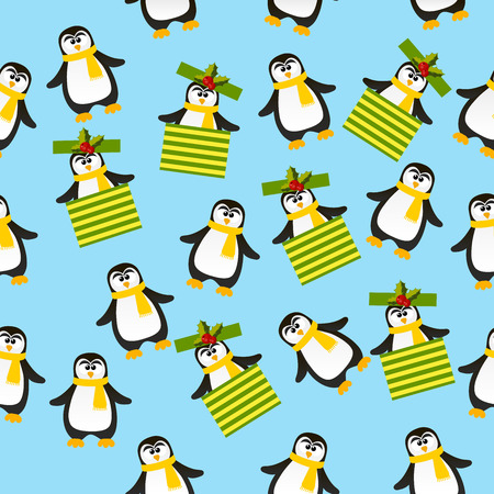 ar: Very high quality original trendy vector seamless pattern with winter holidays happy cute Christmas penguin in scarf