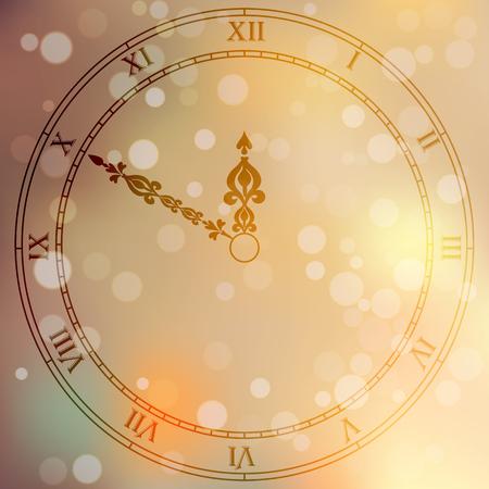 cronometro: rostro original de moda del vector antiguo reloj de muy alta calidad con números romanos y puntero de la vendimia aislado en el fondo boke borroneada