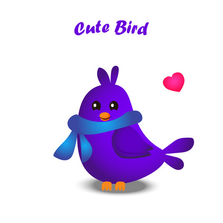 High quality original trendy vector illustration of cute colorful birds Illustration