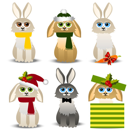 Very high quality original trendy vector christmas rabbits set in hats, scarfs, with cane and gift boxes or presents