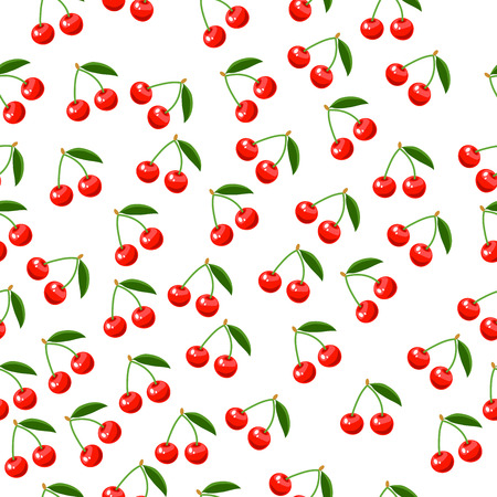 Very high quality original trendy vector seamless pattern with a cherry