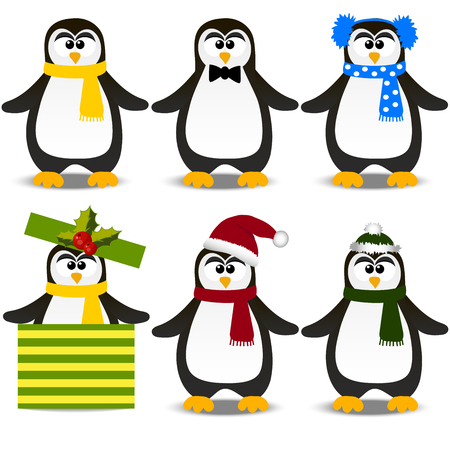 Very high quality original trendy vector set with winter holidays happy cute Christmas penguin in hat and scarf