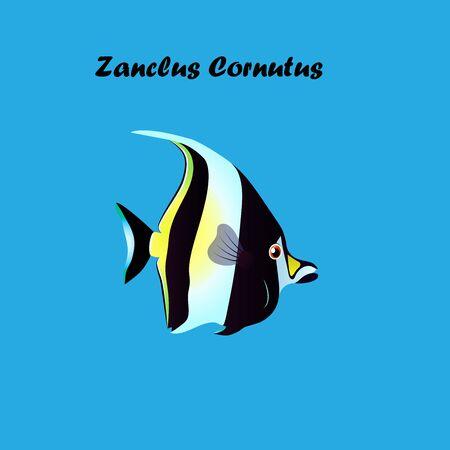 Very high quality original trendy vector illustration of Moorish Idol fish. Zanclus cornutus Illustration