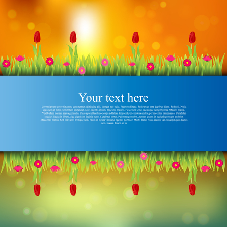 tulips in green grass: Very high quality original trendy banner with grass, flowers, chamomile, Tulip on sunset background Illustration